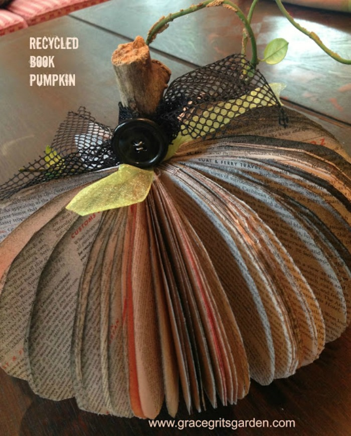 how to make pumpkins from recycled books