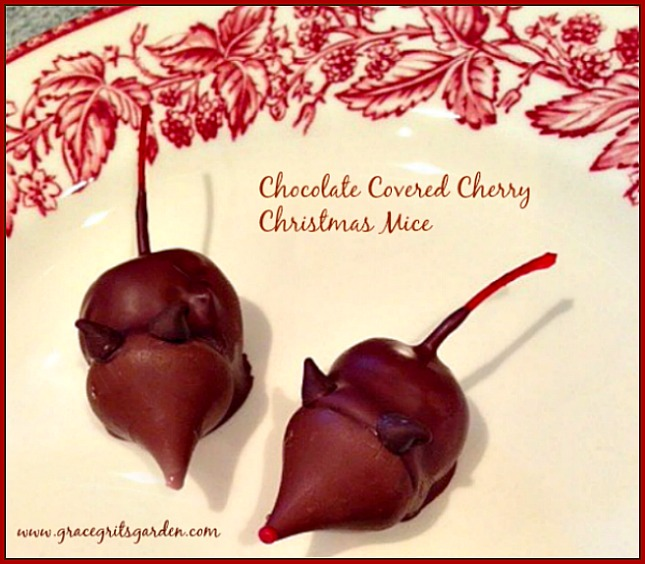 chocolate covered cherry Christmas mice - Fun to make and eat!