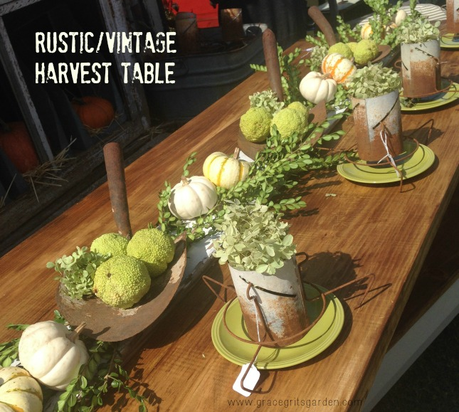 Rustic Vintage Harvest Tablescape. Look at the shovels!