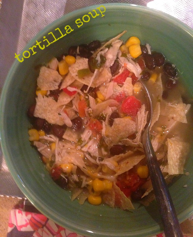 the joy of leftovers! Tortilla soup.