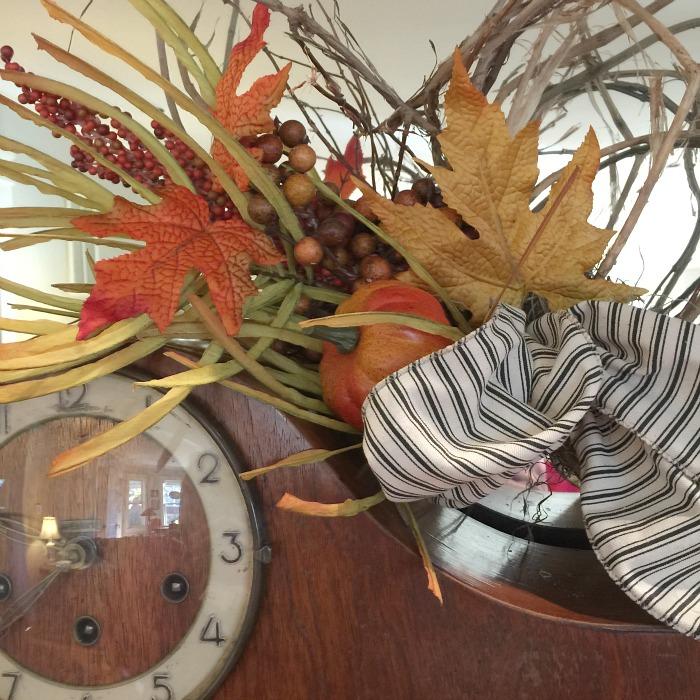 Thanksgiving decor - I love black and white ticking with orange